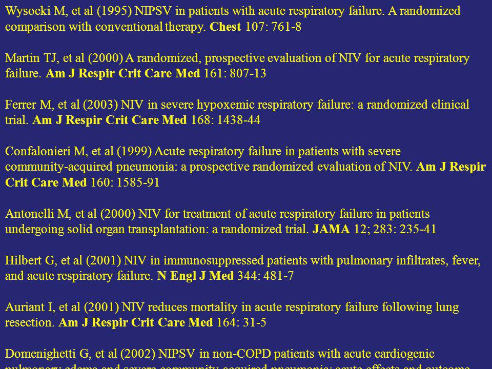 Wysocki M, et al (1995) NIPSV in patients with acute respiratory failure. A randomized comparison with conventional therapy. Chest 107: 761-8