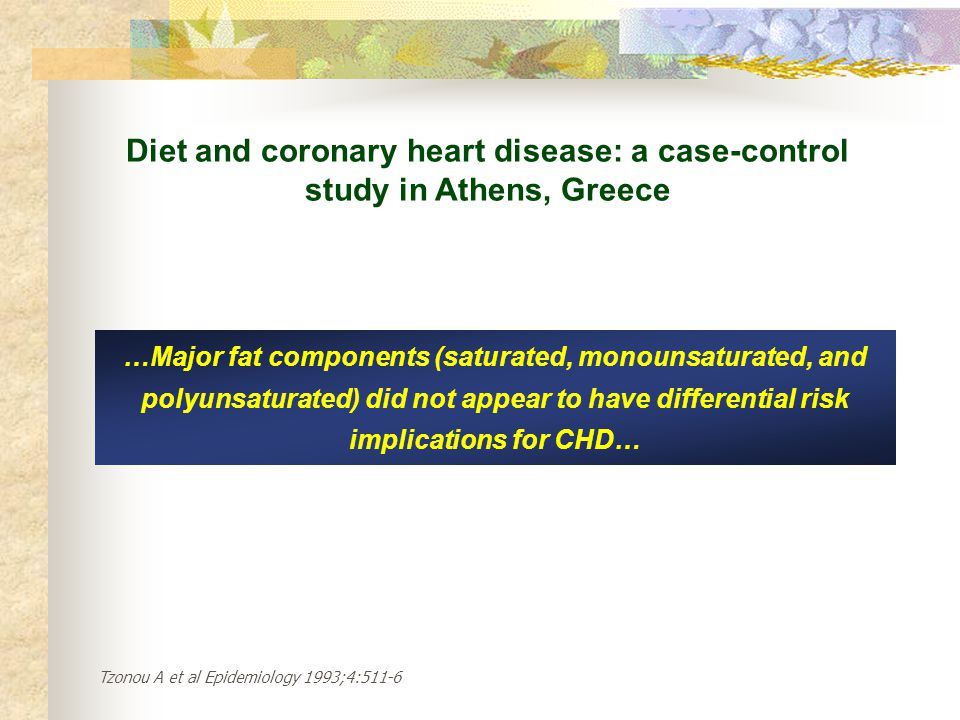 Diet and coronary heart disease: a case-control study in Athens, Greece
