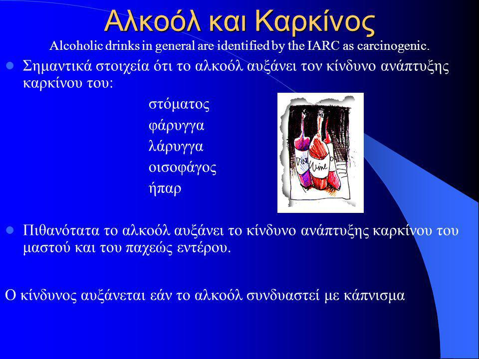 Αλκοόλ και Καρκίνος Alcoholic drinks in general are identified by the IARC as carcinogenic.