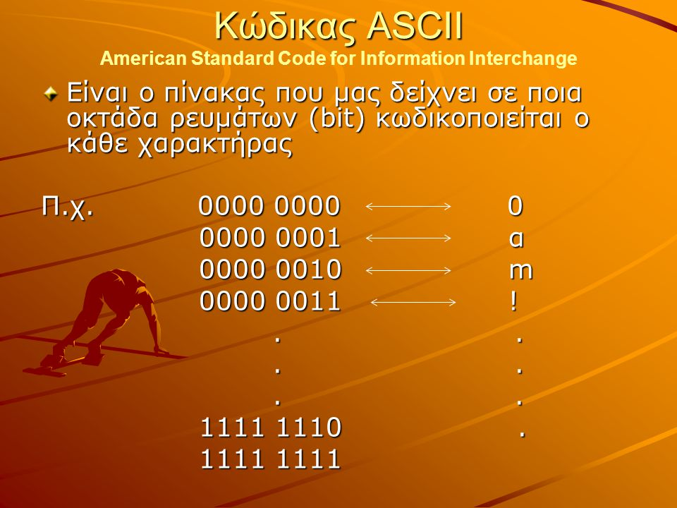 Κώδικας ASCII American Standard Code for Information Interchange
