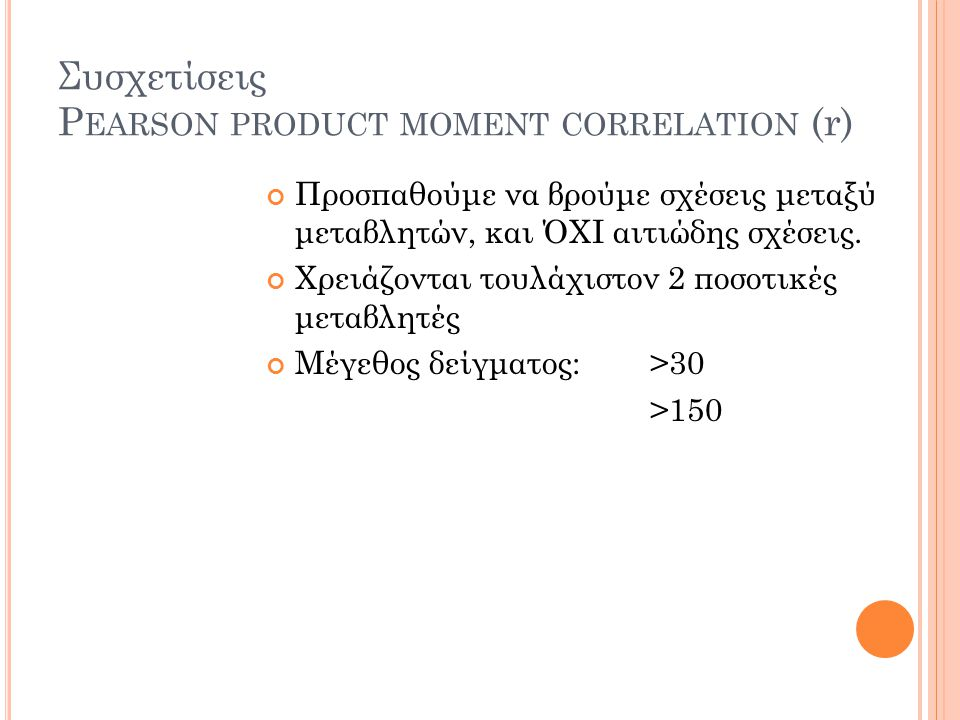 Συσχετίσεις Pearson product moment correlation (r)