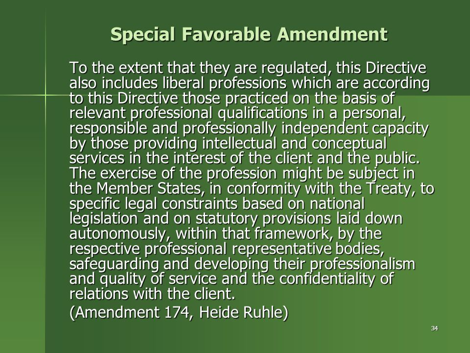 Special Favorable Amendment