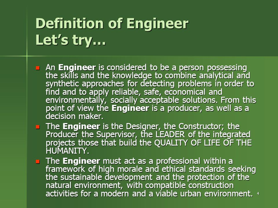 Definition of Engineer Let's try…