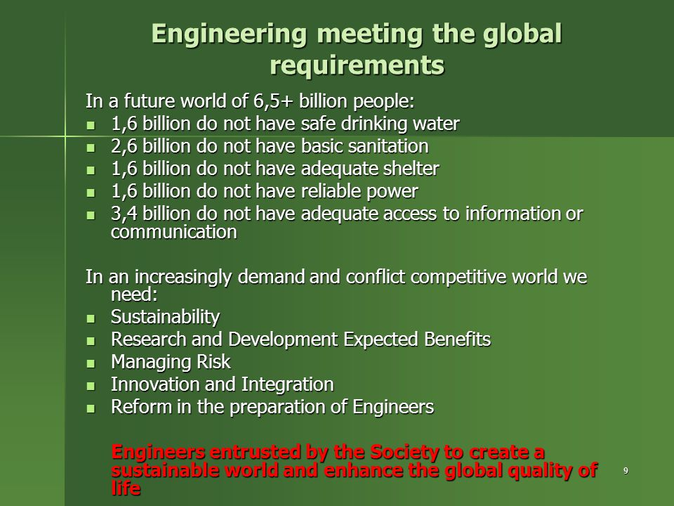 Engineering meeting the global requirements