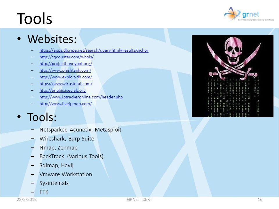 Tools Websites: Tools: Netsparker, Acunetix, Metasploit