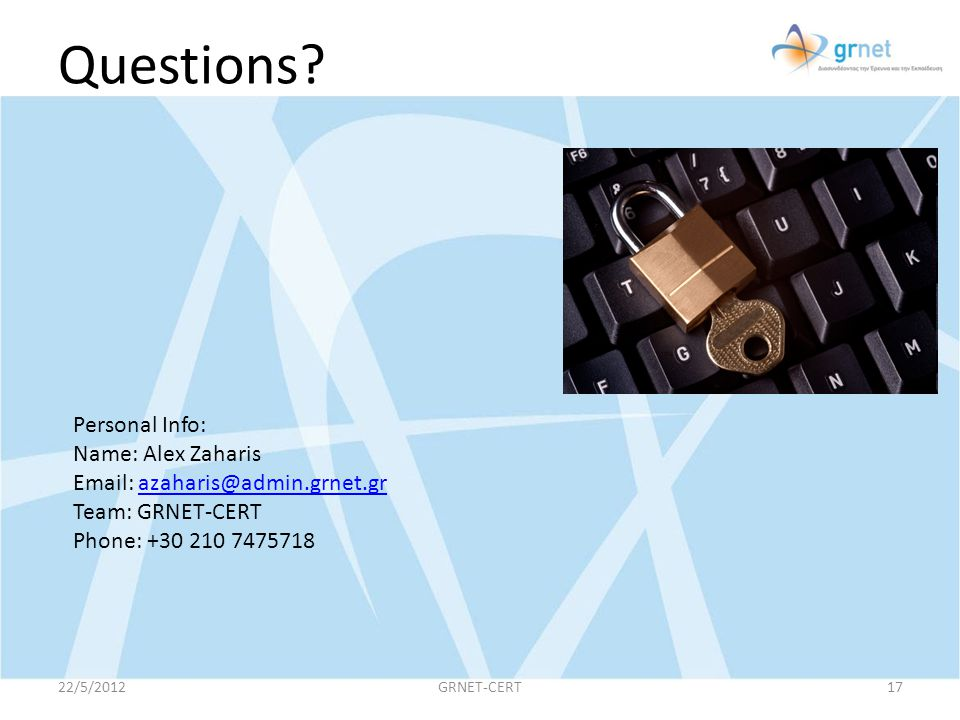 Questions Personal Info: Name: Alex Zaharis