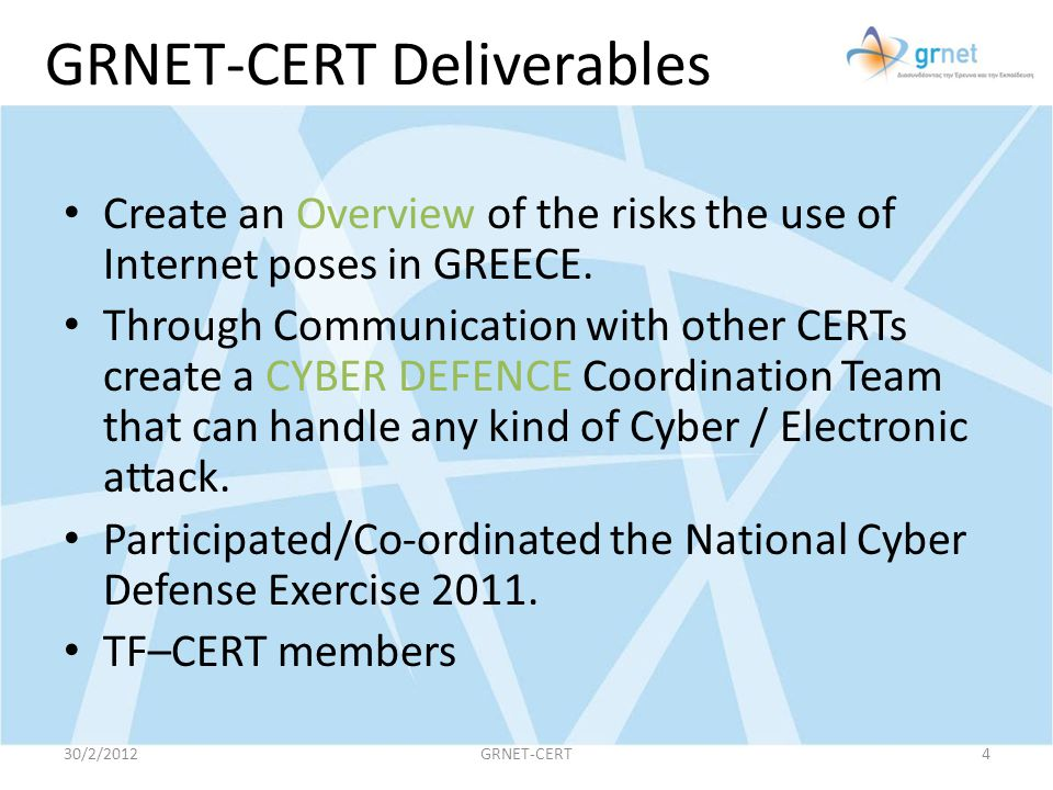 GRNET-CERT Deliverables
