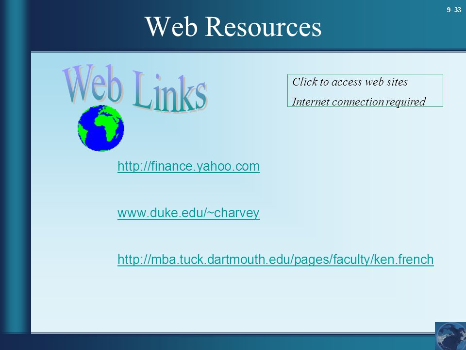 Web Resources Web Links http://finance.yahoo.com www.duke.edu/~charvey