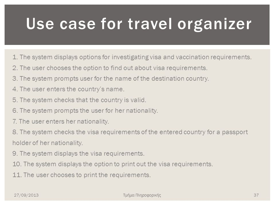 Use case for travel organizer