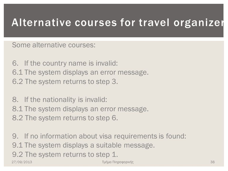 Alternative courses for travel organizer
