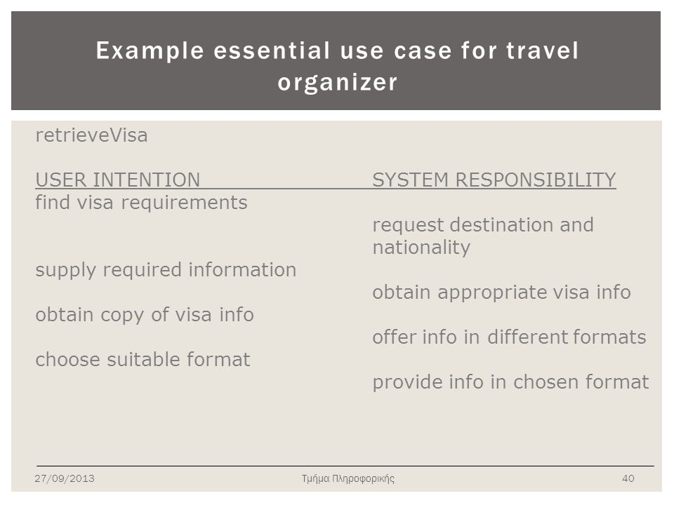 Example essential use case for travel organizer