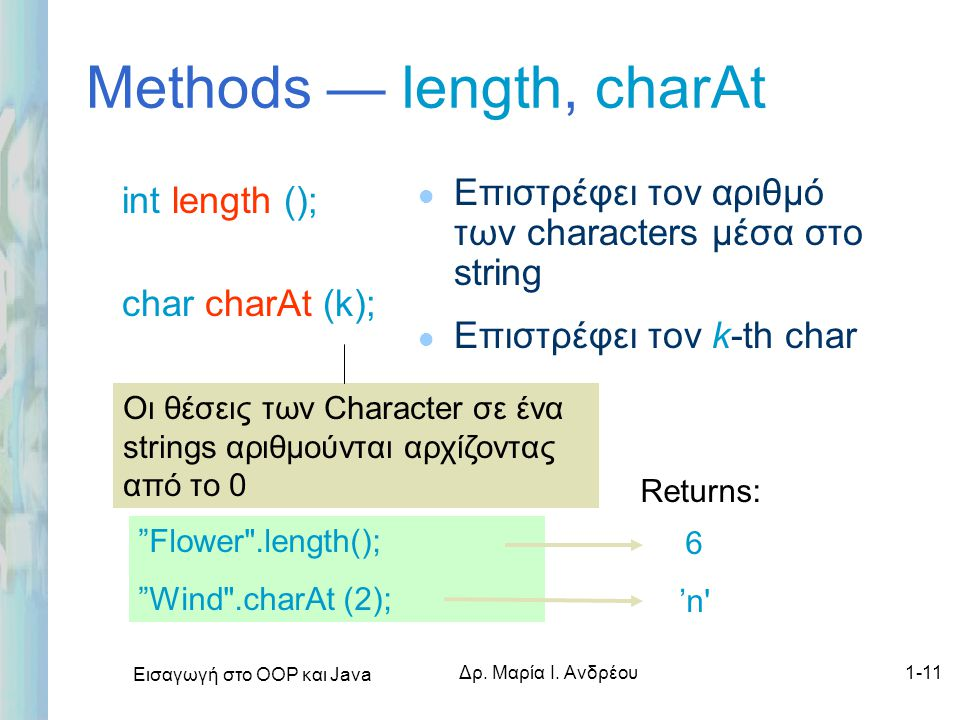 Methods — length, charAt