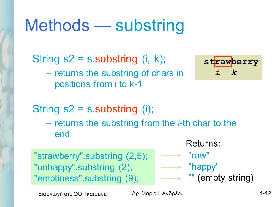 Methods — substring String s2 = s.substring (i, k);