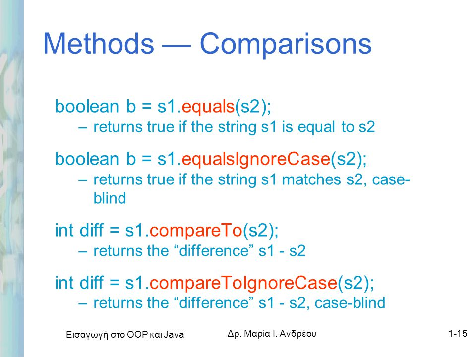 Methods — Comparisons boolean b = s1.equals(s2);