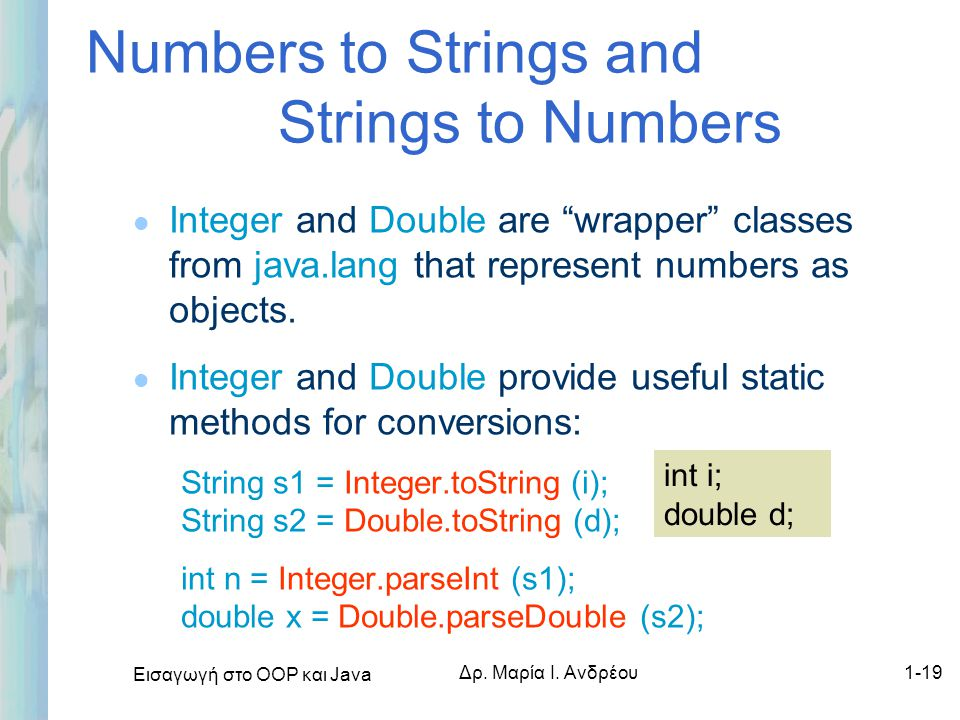 Numbers to Strings and Strings to Numbers