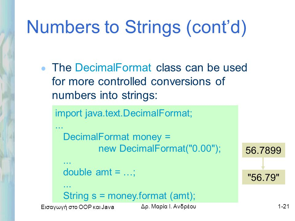 Numbers to Strings (cont'd)