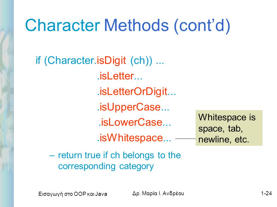 Character Methods (cont'd)