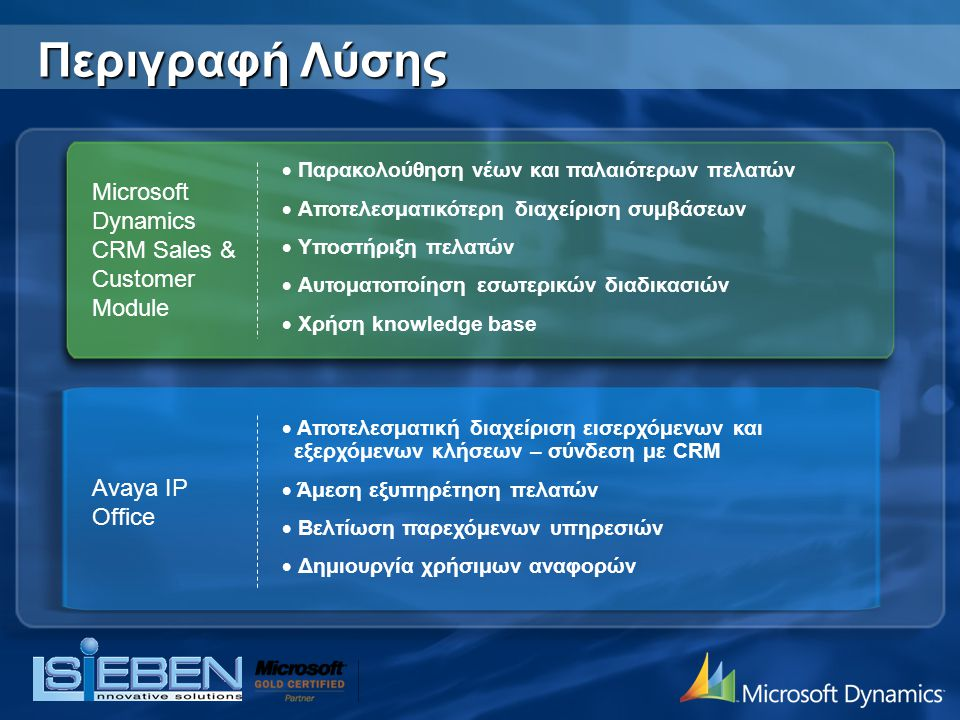 Περιγραφή Λύσης Microsoft Dynamics CRM Sales & Customer Module