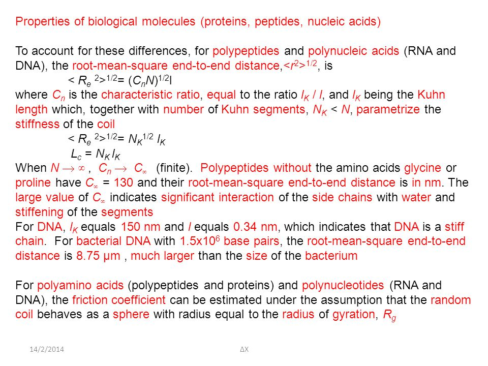 Properties of biological molecules (proteins, peptides, nucleic acids)