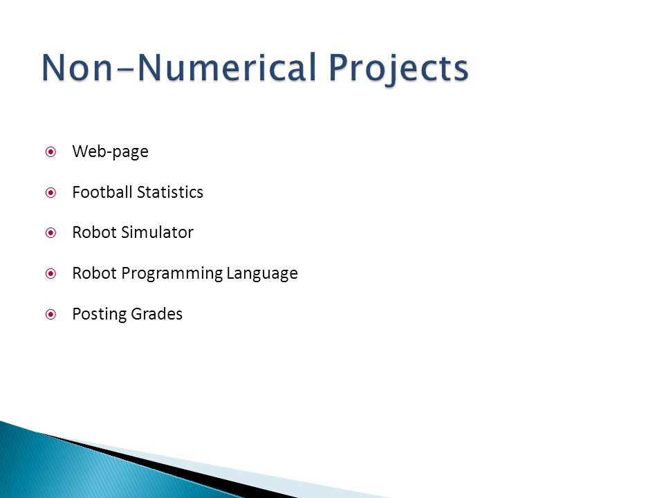 Non-Numerical Projects