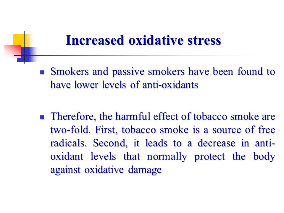 Increased oxidative stress