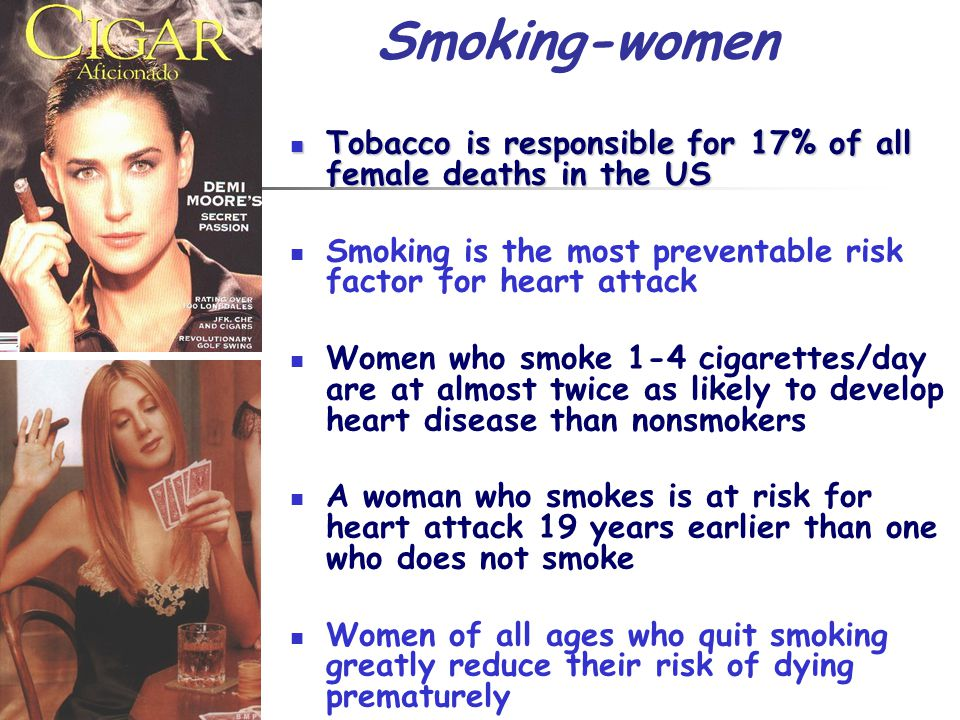 Smoking-women Tobacco is responsible for 17% of all female deaths in the US. Smoking is the most preventable risk factor for heart attack.