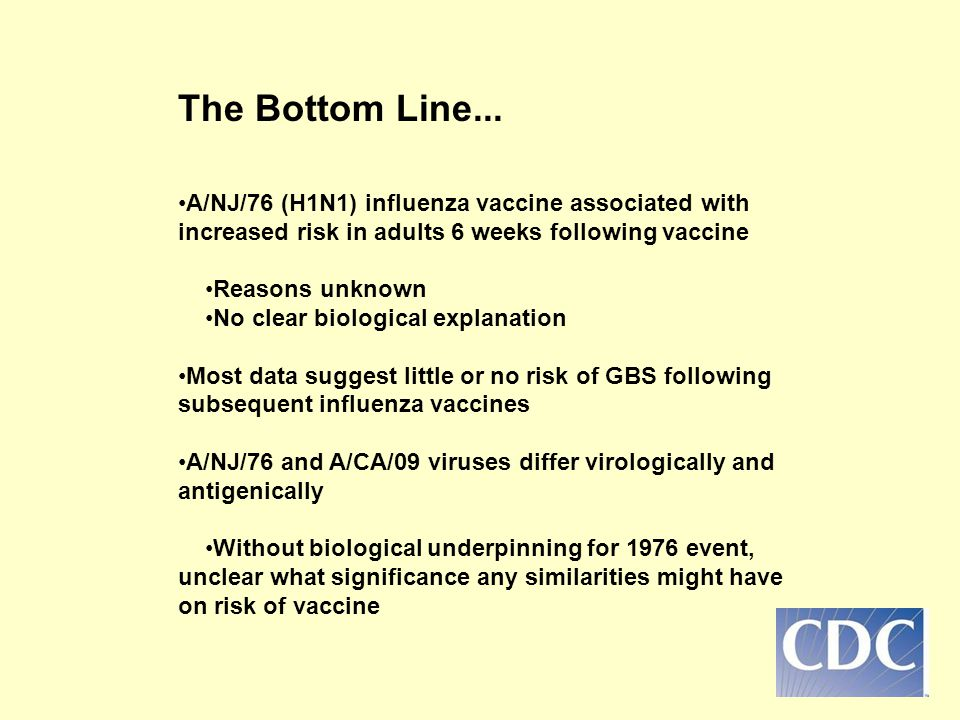The Bottom Line... •A/NJ/76 (H1N1) influenza vaccine associated with increased risk in adults 6 weeks following vaccine.