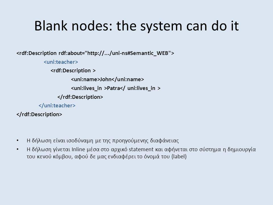 Blank nodes: the system can do it