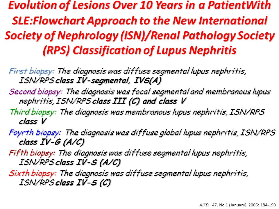 Evolution of Lesions Over 10 Years in a PatientWith SLE:Flowchart Approach to the New International Society of Nephrology (ISN)/Renal Pathology Society (RPS) Classification of Lupus Nephritis