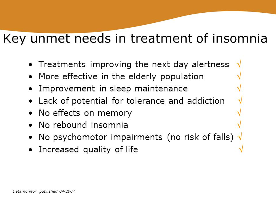 Key unmet needs in treatment of insomnia
