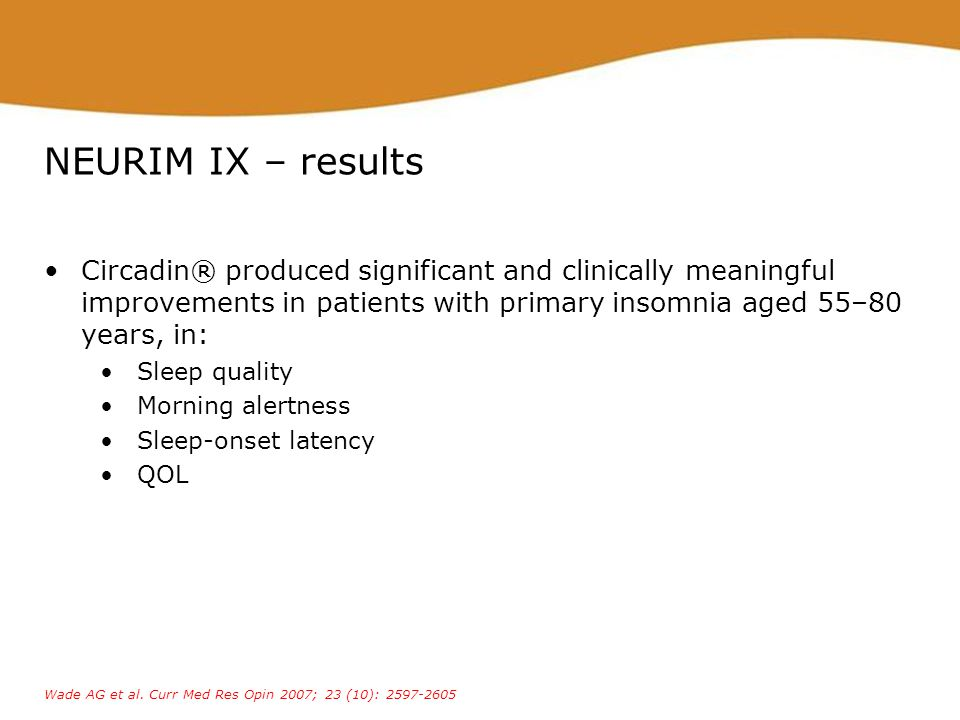 NEURIM IX – results Circadin® produced significant and clinically meaningful improvements in patients with primary insomnia aged 55–80 years, in: