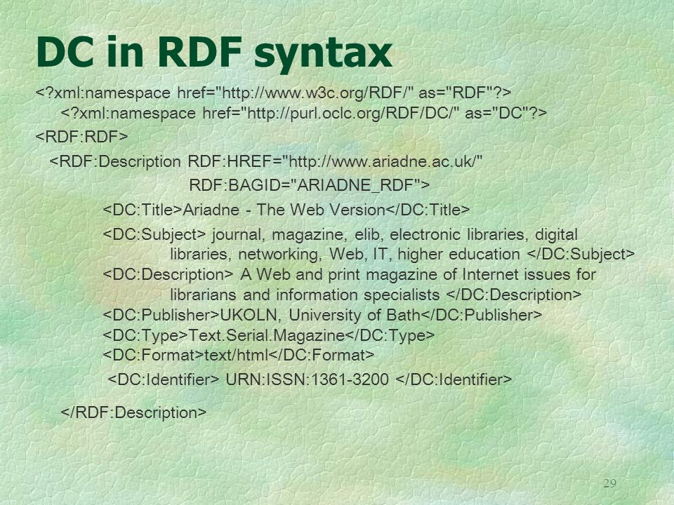 DC in RDF syntax < xml:namespace href= http://www.w3c.org/RDF/ as= RDF > < xml:namespace href= http://purl.oclc.org/RDF/DC/ as= DC >