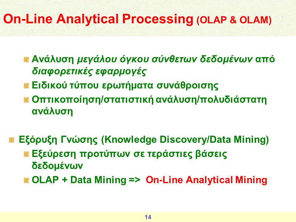 On-Line Αnalytical Processing (OLAP & OLAM)