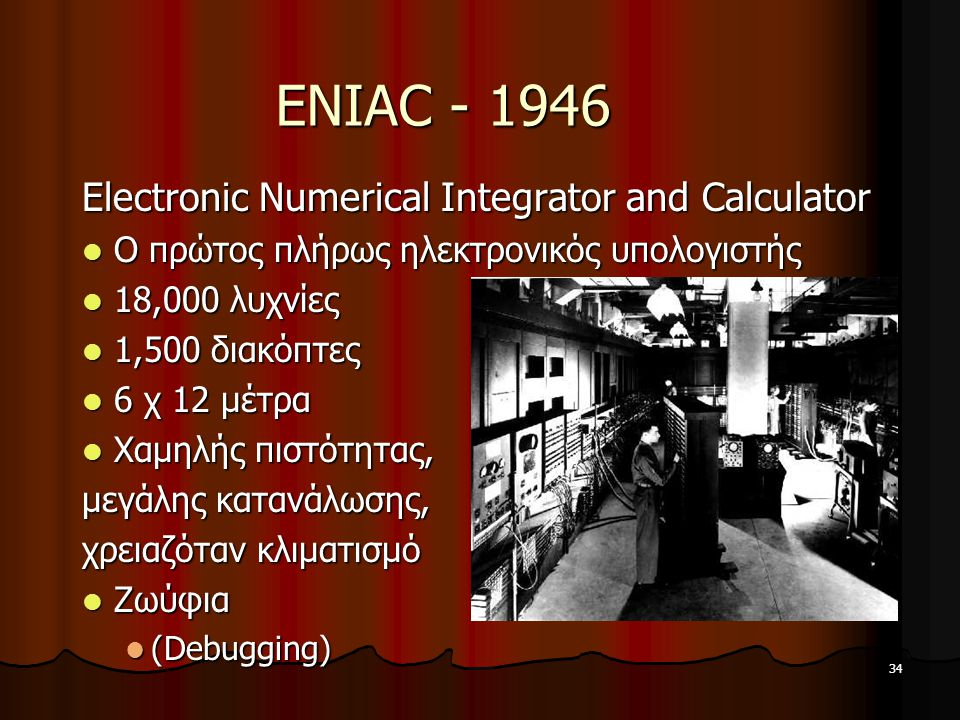 ENIAC - 1946 Electronic Numerical Integrator and Calculator