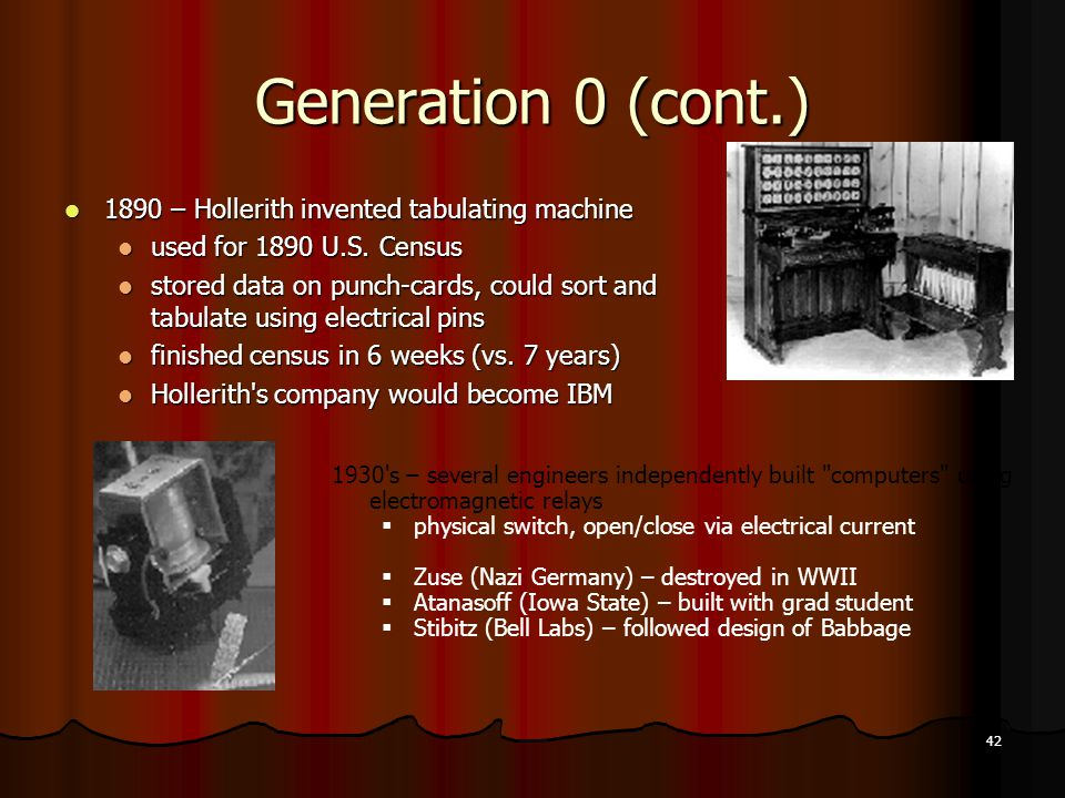 Generation 0 (cont.) 1890 – Hollerith invented tabulating machine