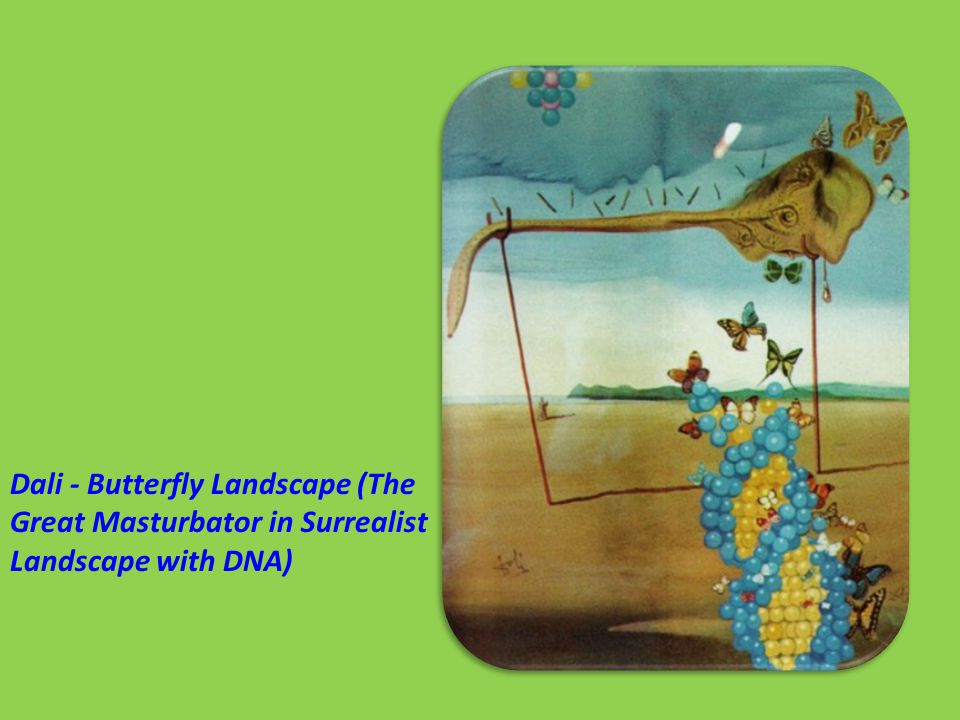 Dali - Butterfly Landscape (The Great Masturbator in Surrealist Landscape with DNA)