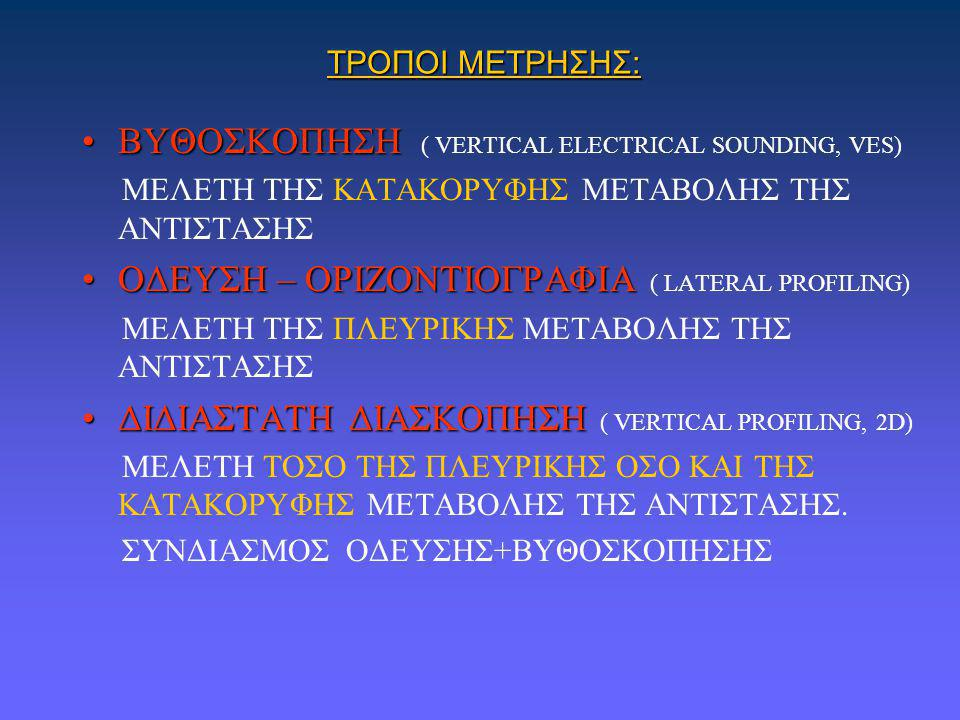 ΒΥΘΟΣΚΟΠΗΣΗ ( VERTICAL ELECTRICAL SOUNDING, VES)