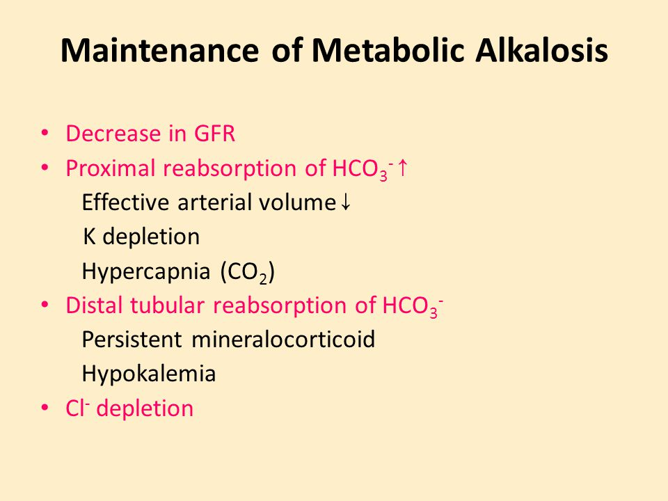 Maintenance of Metabolic Alkalosis