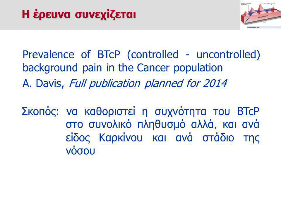 Η έρευνα συνεχίζεται Prevalence of BTcP (controlled - uncontrolled) background pain in the Cancer population.