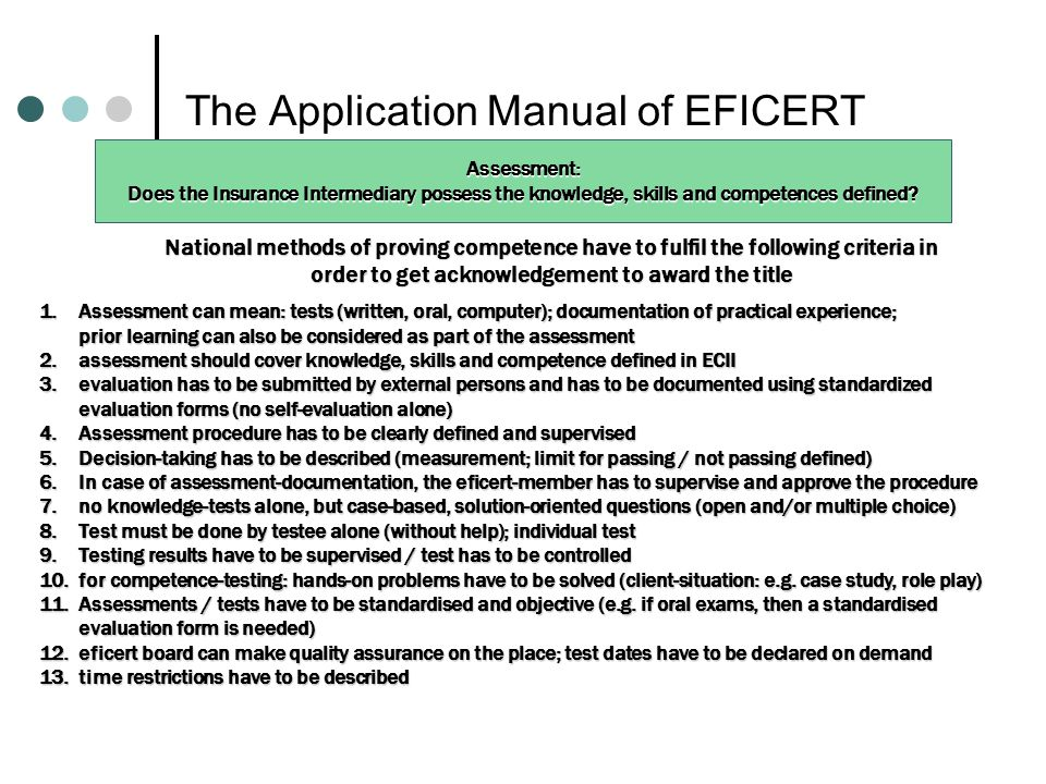 The Application Manual of EFICERT