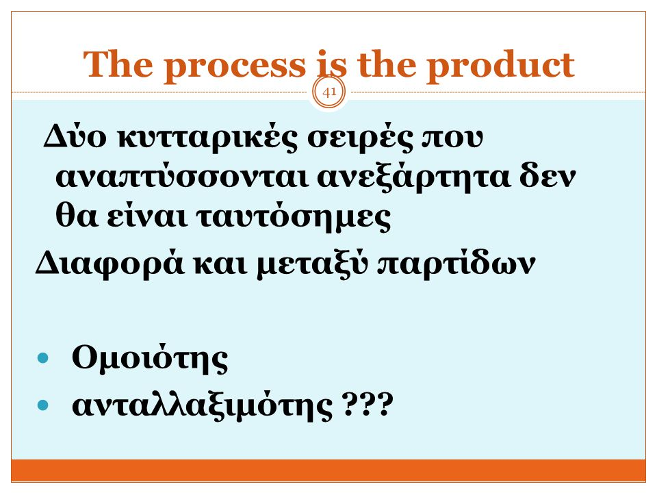 The process is the product