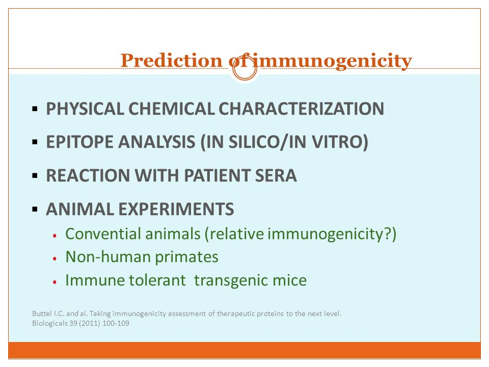 Prediction of immunogenicity
