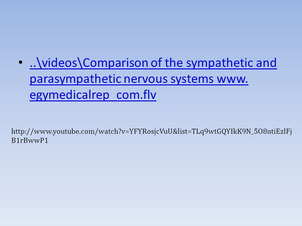 ..\videos\Comparison of the sympathetic and parasympathetic nervous systems www. egymedicalrep_com.flv