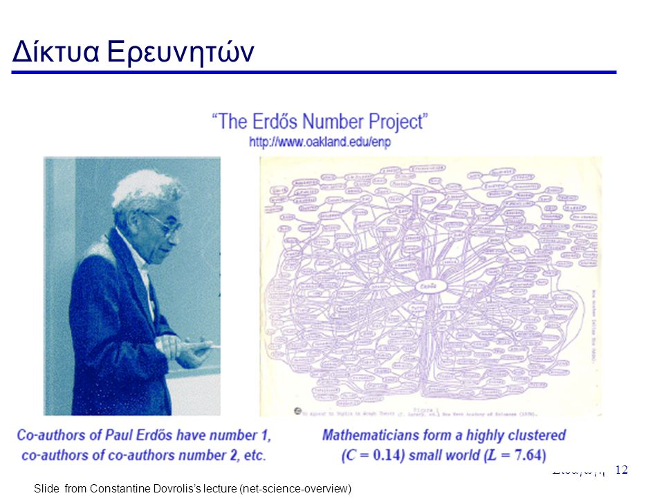 Δίκτυα Ερευνητών Slide from Constantine Dovrolis's lecture (net-science-overview) Slide from Constantine Dovrolis's lecture (net-science-overview)