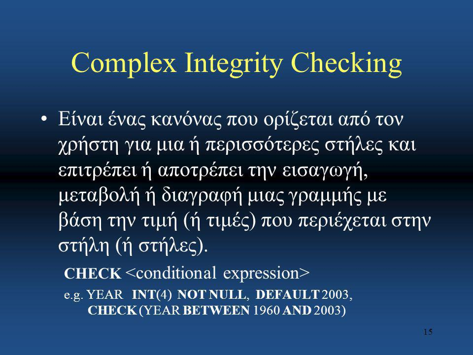 Complex Integrity Checking