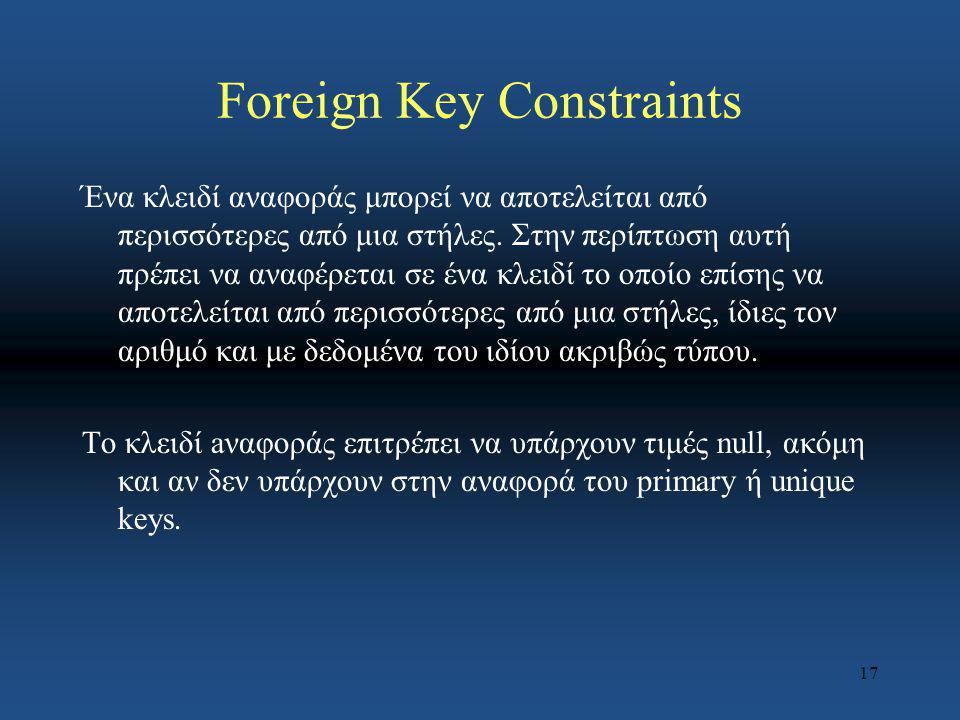 Foreign Key Constraints