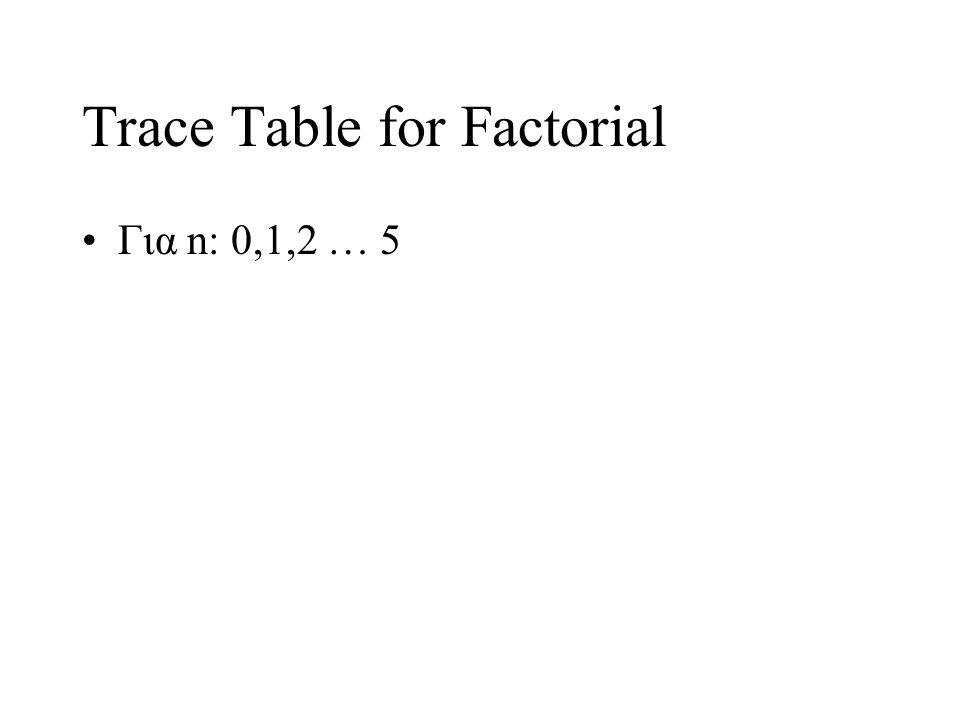 Trace Table for Factorial