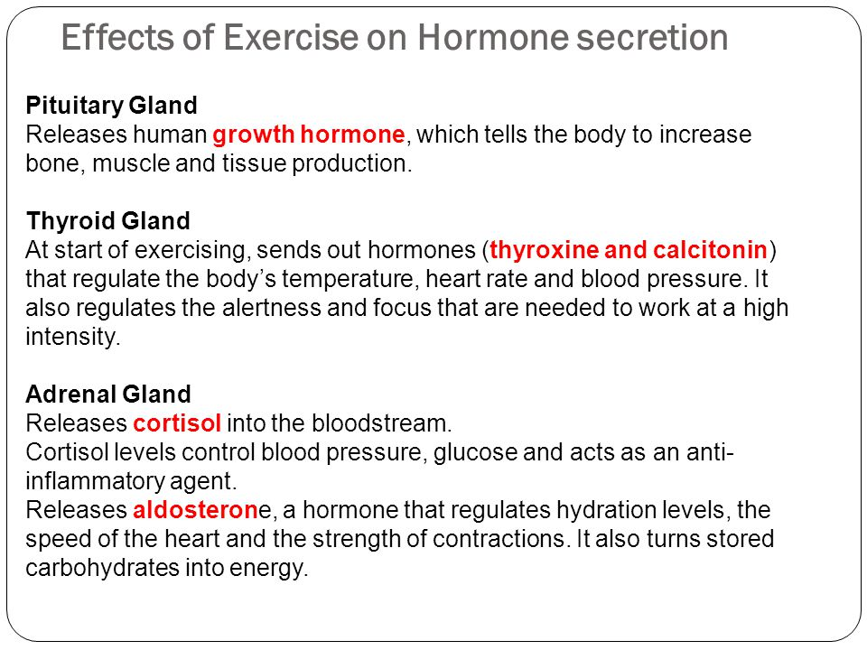 Effects of Exercise on Hormone secretion