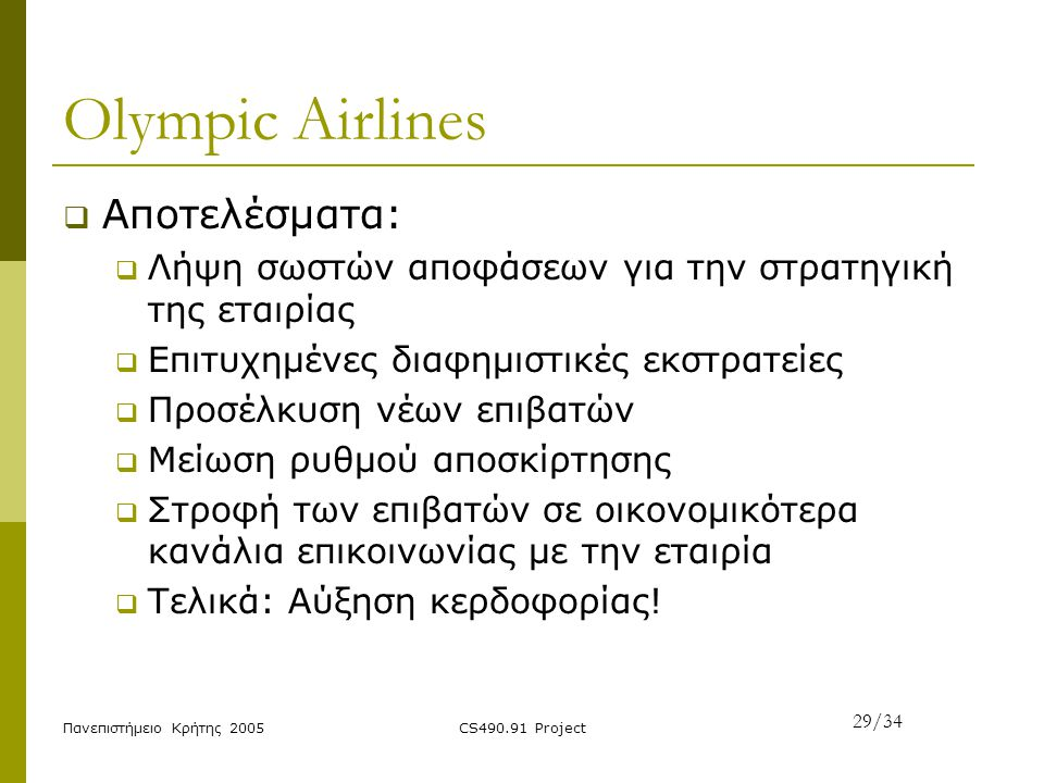 Olympic Airlines Αποτελέσματα: