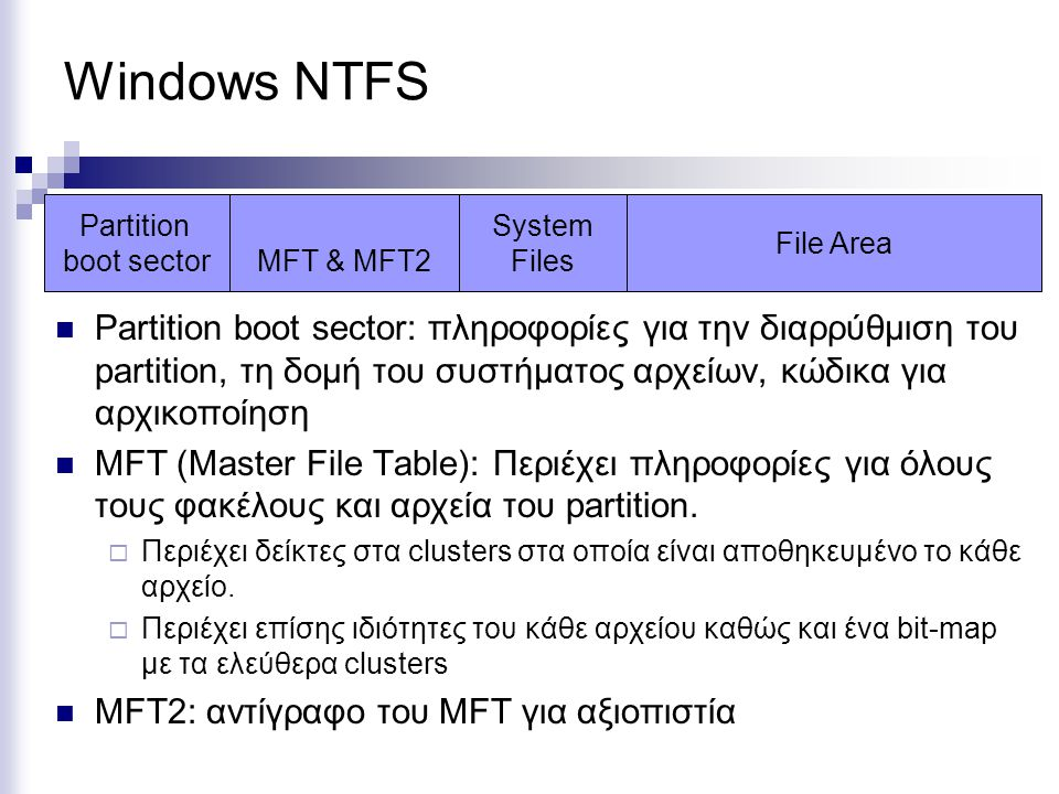 Windows NTFS Partition. boot sector. MFT & MFT2. System. Files. File Area.